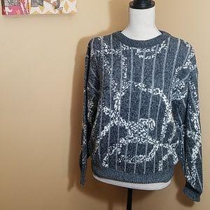 Vintage Grey and white medium sweater